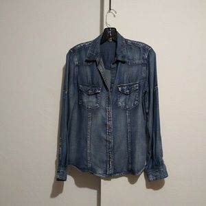Cloth and stone washed chambray button down  XS